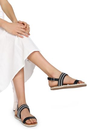 FEEL THE EASE BLACK FLAT SANDALS
