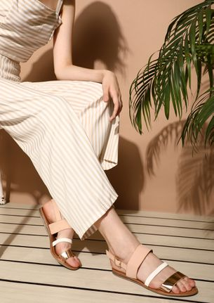 LIFE IS A VACATION PINK FLAT SANDALS