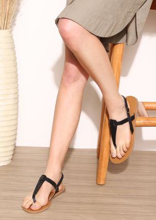 ALMOST HERE BLACK THONG STRAP FLAT SANDALS