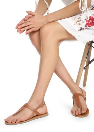 ALMOST HERE TAN THONG STRAP FLAT SANDALS