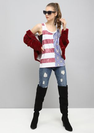 RED AND BLUETWO FACED  VEST TOP
