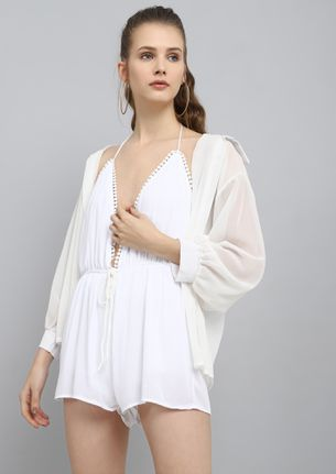 SHE SELLS SEA SHELLS WHITE ROMPER