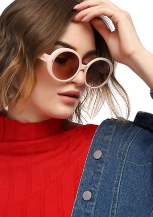 DOWN TO EARTH PINK ROUND SUNGLASSES
