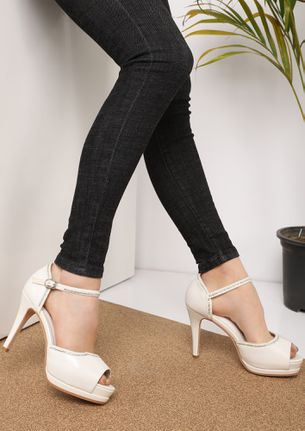 COME AWAY WITH ME WHITE PEEP TOE SANDALS