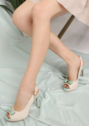 CALMING COLORS BEIGE PEEP-TOE HEELS