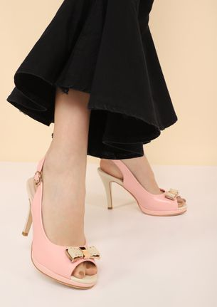 BOWING OUT PINK PEEP-TOE HEELS