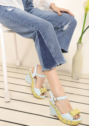 TAKE A BOW BLUE WEDGES