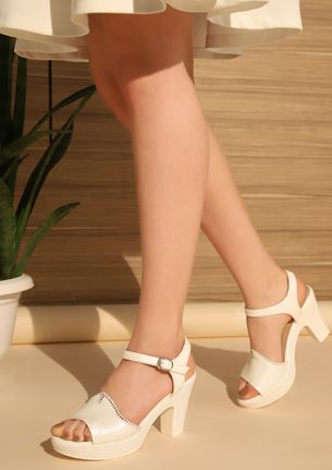 CORPORATE EVENINGS WHITE HEELED SANDALS