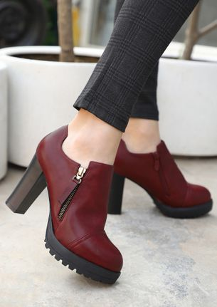 ZIP UP AND GO RED ANKLE BOOTS