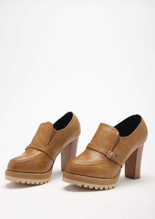 ALWAYS A DOER BROWN HEELED SMART SHOES