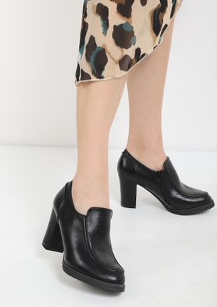 HERE TO IMPRESS BLACK HEELED SMART SHOES