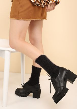 NOT WITHOUT LACES BLACK HEELED SMART SHOES