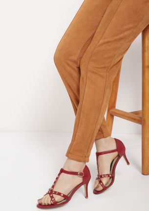 WITH ALL HUES RED HEELED SANDALS