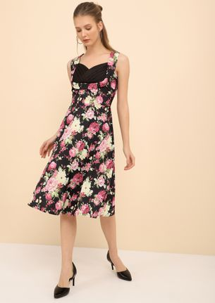 A FLORAL JOURNEY BLACK PINK MIDI DRESS