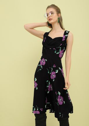 COUNTING ROSES PURPLE MIDI DRESS