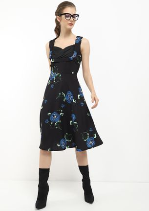 ROOTING FOR YOU FLORAL BLUE MIDI DRESS