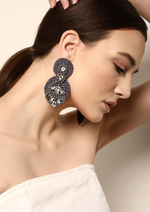 GOSS BABE WOVEN WITH PERFECTION GREY EARRINGS