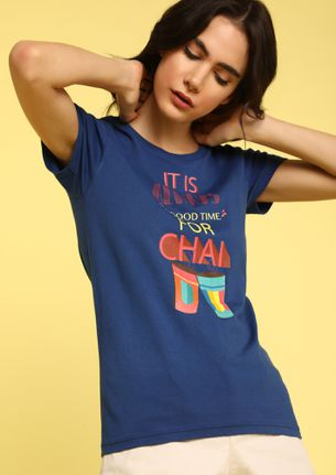 MAD FAT MONKEY TIME FOR CHAI BLUE T-SHIRT
