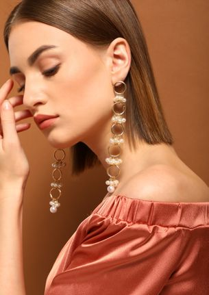GOSS BABE PEARLS OF HAPPINESS GOLDEN EARRINGS