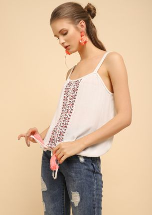 PULL THAT DOWN WHITE CAMI TOP