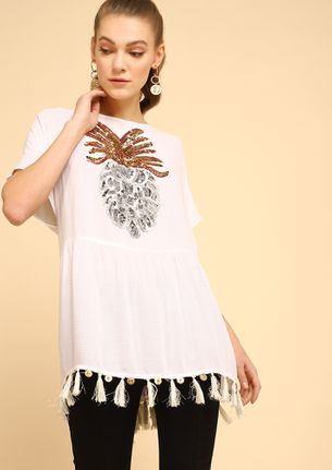 FRUITS OF LABOR WHITE TUNIC TOP