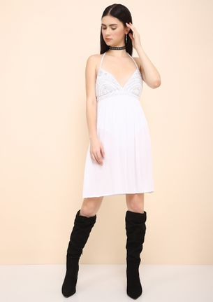 DO YA DARE TO BARE WHITE SKATER DRESS