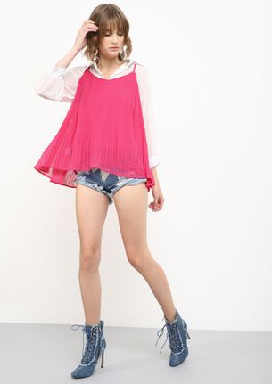 ACCORDING TO ACCORDIONS PINK CAMI TOP