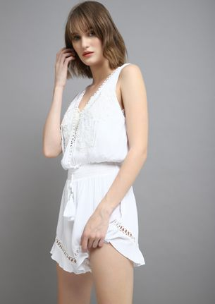 POOLSIDE-BRUNCH ANYONE WHITE ROMPER