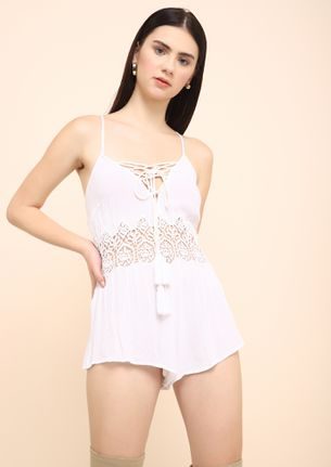 CALL ME FOR COCKTAILS WHITE ROMPER