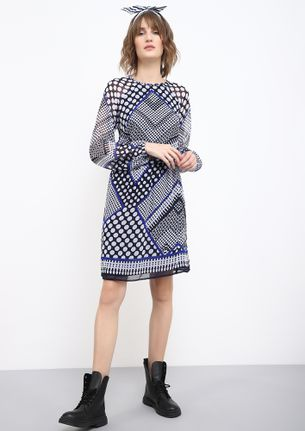 GROOVING WITH THE OLDIES BLUE SHIFT DRESS
