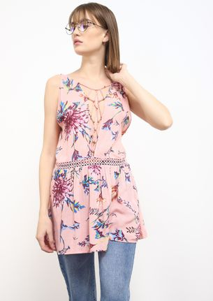 BEADS AND FLOWERS PINK TUNIC TOP