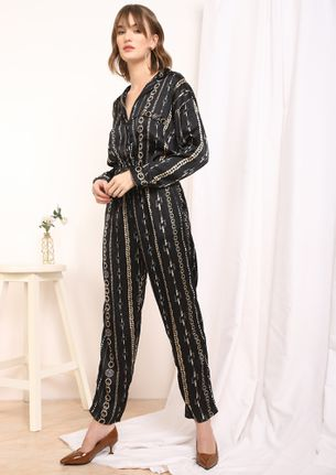 CHAINED UP BLACK JUMPSUIT
