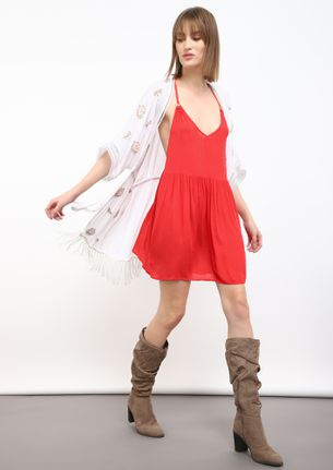 SOLID RED TUNIC DRESS