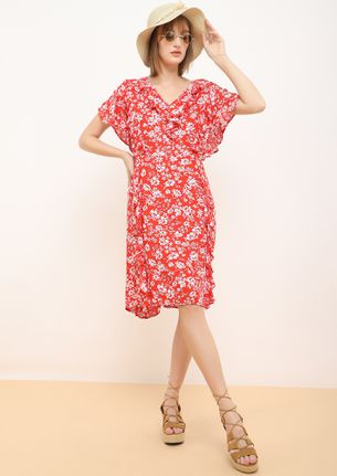 GO TO THE EXTREME RED MIDI DRESS