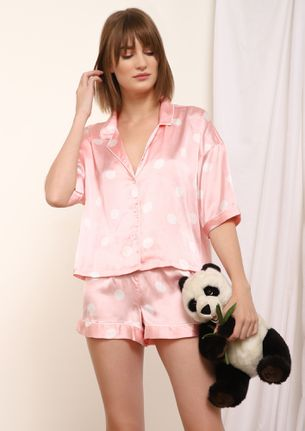 HOT ON THE DOTS PINK NIGHTWEAR SET