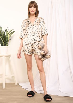 FEATHERS AND DOTS BEIGE NIGHTWEAR SET