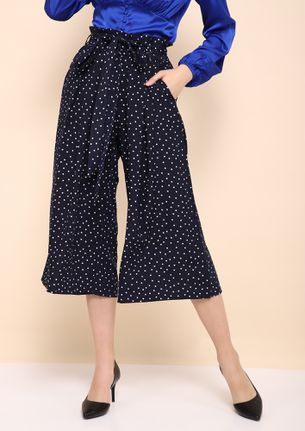 SPOTTED WITH FLAIR NAVY PAPERBAG WAIST CULOTTES
