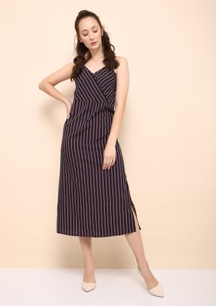 STRIPED OUT NAVY MAROON MAXI DRESS