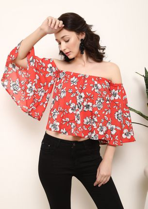 SURROUNDED BY FLOWERS ORANGE OFF-SHOULDER TOP