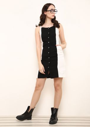 BUTTON UP BLACK AND WHITE TUNIC DRESS