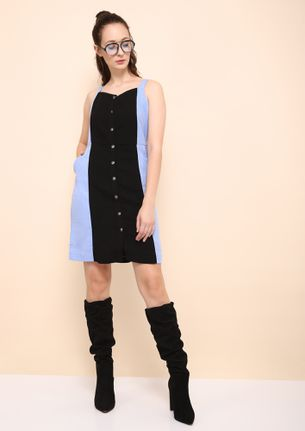 BUTTON UP BLUE AND BLACK TUNIC DRESS