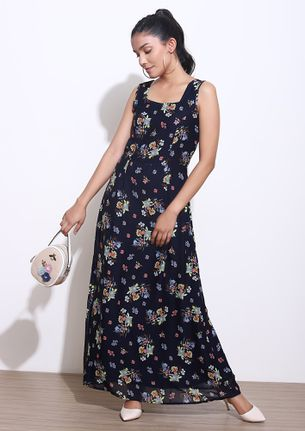 COLLECT ALL THINGS FLOWERY BLUE MAXI DRESS