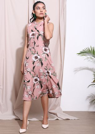 GROWING AND GLOWING PINK MIDI DRESS