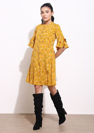 TAKEN BY THE DAISIES YELLOW SHIRT DRESS