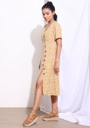 CAUGHT BY LIL DAISIES YELLOW MIDI DRESS