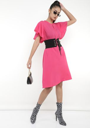 TOO RELAXED TO WORK PINK SHIFT DRESS
