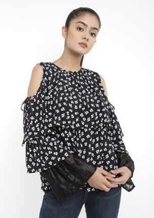 DITSY FLORA ALL OVER BLACK TOP