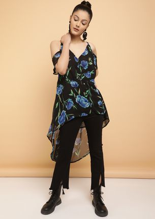 FLOWING IN THE RIGHT DIRECTION BLACK TUNIC TOP