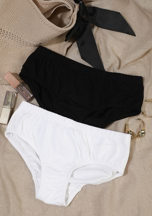 BLACK WHITE HIPSTERS SET WITH INNER ELASTIC
