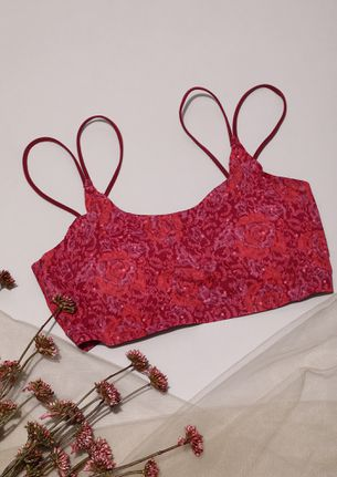 DOUBLE STRAP FLORAL PRINTED RED BRALETTE